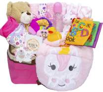 Joyful Arrival Deluxe Baby Gift Set (Girl or Boy) - Diaper Organizer, Baby Clothes & More (with Toys, Girl)