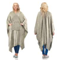 Fleece Wearable Blanket Poncho for Adult Women Men,Wrap Blanket Cape with Pocket |Warm,Soft,Cozy,Snuggly,Comfort Gift,No Sleeves|All Season,Camel