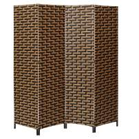 ALPHA HOME 4 Panel Room Divider - Handcrafted Wood Framed Folding Privacy Screen, Black & Brown