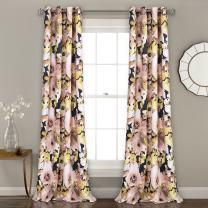 "Lush Decor 16T002398 Floral Watercolor Room Darkening Window Curtain Panel Pair, 84"" x 52"", Navy"