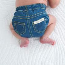 Amazing Baby Blue Jeans SmartNappy, NextGen Hybrid Cloth Diaper Cover + 1 Tri-fold Reusable Insert + 1 Reusable Booster, Denim, Size 4, 22-40 lbs