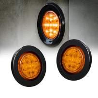 "2pc 2.5"" Amber Round Trailer LED Marker Lights [DOT FMVSS 108] [SAE P2] [Reflector Lens] [Grommet] [Flush-Mount] [Waterproof IP67] Marker Lights for Trailer Truck"