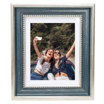 Beyond Your Thoughts 8x10 Picture Photo Frame(1 Pack Real Glass) Antique with Matted for 5X7 Blue Color, Vertical or Horizontal, Table Top and Wall Mounting Display