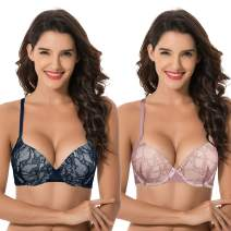 Curve Muse Womens Plus Size Push Up Add 1 Cup Underwire Perfect Shape Lace Bras