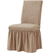 subrtex Universal Dining Chair Slipcover with Skirt Stretchable Removable Washable Furniture Protector for Kids Pets Home Ceremony Banquet Wedding Party (4Pcs,Oatmeal)