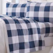 Great Bay Home Extra Soft Buffalo Check 100% Turkish Cotton Flannel Sheet Set. Warm, Cozy, Luxury Winter Bed Sheets. Belle Collection (California King, Navy)