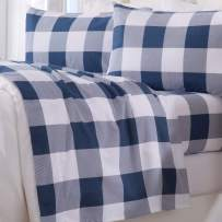 Great Bay Home Extra Soft Buffalo Check 100% Turkish Cotton Flannel Sheet Set. Warm, Cozy, Luxury Winter Bed Sheets. Belle Collection (Queen, Navy)