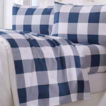 Great Bay Home Extra Soft Buffalo Check 100% Turkish Cotton Flannel Sheet Set. Warm, Cozy, Luxury Winter Bed Sheets. Belle Collection (Full, Navy)