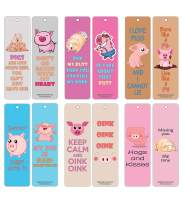 Creanoso Cute Pig Bookmarks (30-Pack) – Funny and Cute Sayings About Pigs Bookmarkers Card Bulk Set – Premium Quality Cards – Stocking Stuffers Gift for Young Animal Lovers, Boys, Girls, Teens