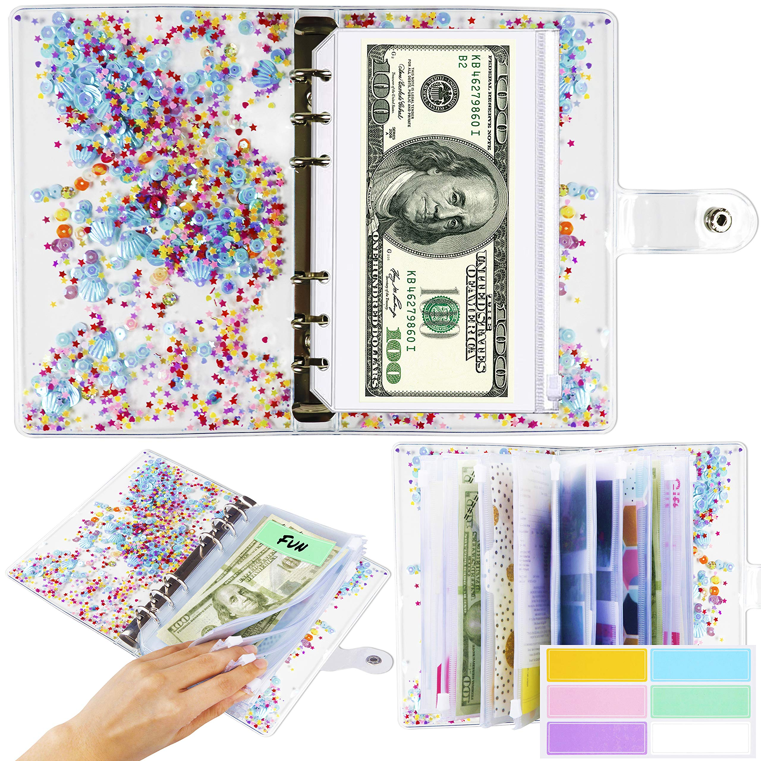 A6 Binder Cover and 12 Clear Envelopes, Budget Binder with Cash Envelopes for Budgeting, Binder Pockets Cash Envelope Wallet, Budget Planner Organizer, Cash Envelope Binder with Budget Envelopes Shell