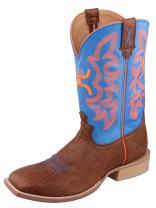 Twisted X Mens Hooey Cognac Bull Hide/Neon Blue Boot (MHY0004)