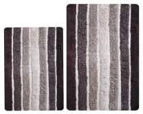 Bathroom Rugs Set 2 Piece in 100% Cotton Alpine Stripe 21x32/17x24 - Brown Beige, Reversible Bath Rugs Set, Cotton Bath Mat,Cotton Bath Rugs, Soft Absorbent Machine Washable