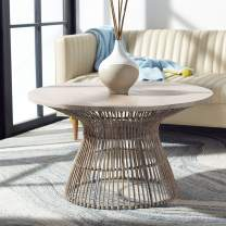 Safavieh Home Collection Whent Coastal Grey White Wash and Black Round Coffee Table