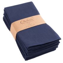KAF Home Chateau Easy-Care Cloth Dinner Napkins - Set of 12 Oversized (20 x 20 inches) - Navy Blue