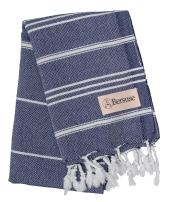 Bersuse 100% Cotton - Anatolia Hand Turkish Towel Pestemal - Baby Care Kitchen Tea Dish Washcloth - Travel Gym Head Hair Face Peshtemal - Classic Striped - 22X35 Inches, Dark Blue