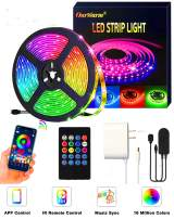 AerWo LED Strip Lights,16.4ft RGB LED Light Strip SMD 5050 Bluetooth APP Controller Color Changing LED Strip Lights Kit Sync to Music Apply for TV, Bedroom, Bar, Party and Home Decoration