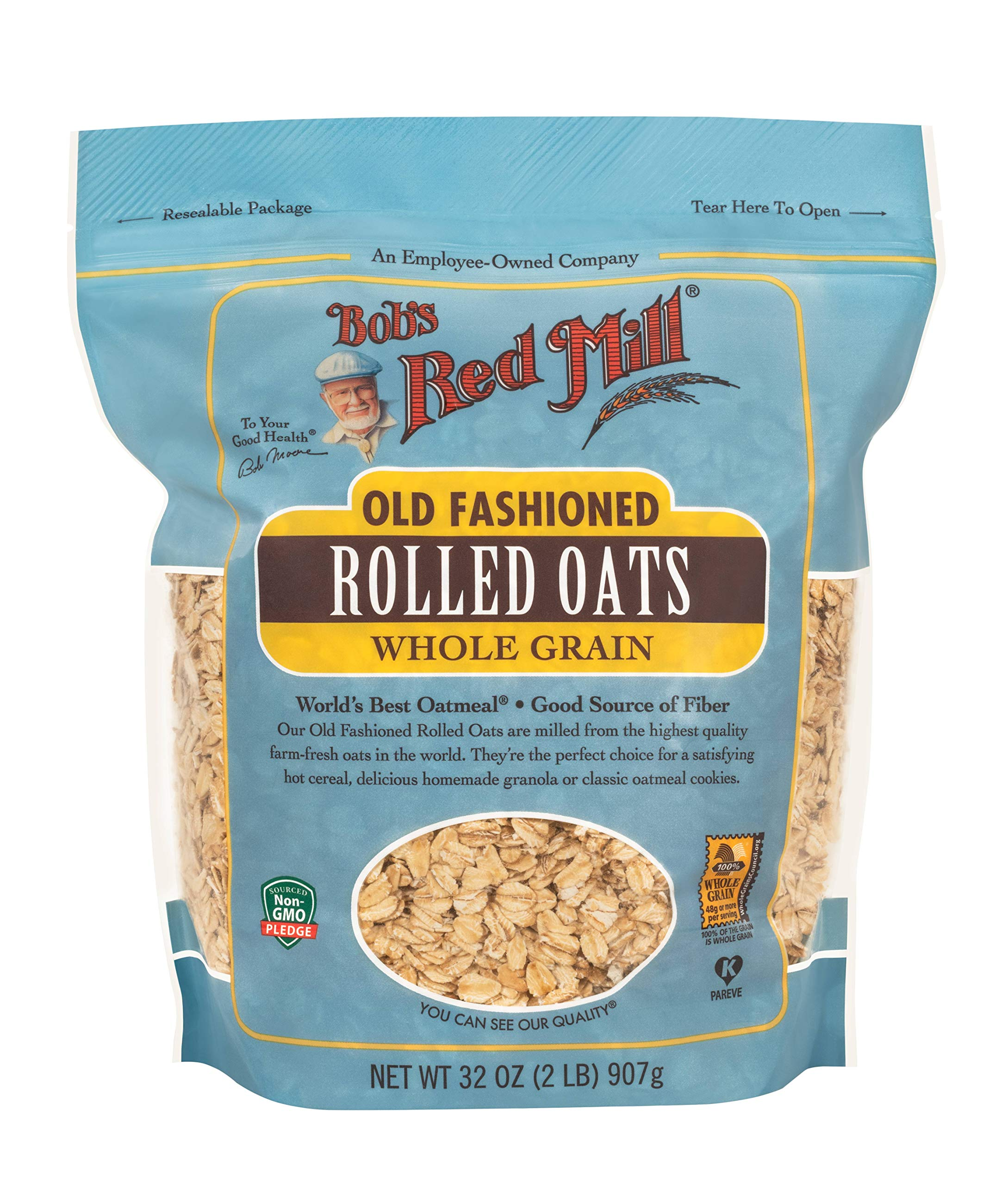 Bob's Red Mill, Old Fashioned 32 ounce, regular rolled oats, 128 Ounce ( Pack of 4 )