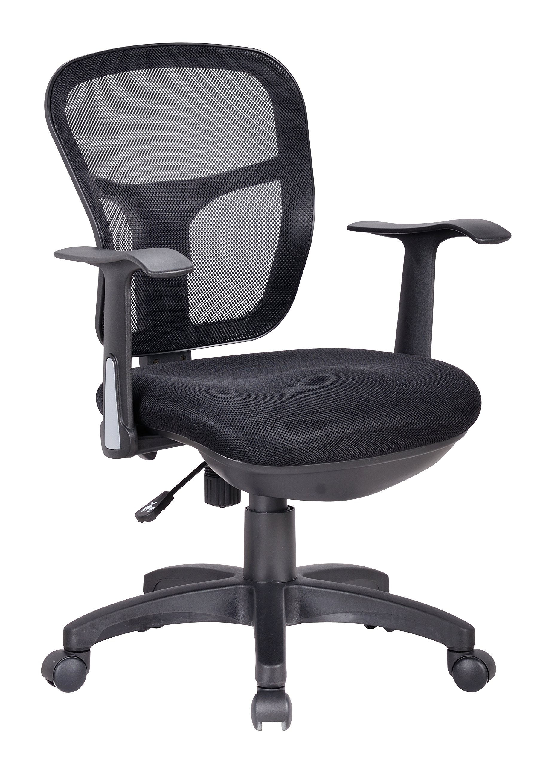 Office Factor Ergonomic Black Mesh Task Conference Room Desk Office Chair Lumbar Support Extra Cushion on The Seat Fixed Arms Swivel Tilt Mechanism Swivel Adjustable Height