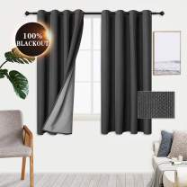 WONTEX 100% Dark Grey Blackout Curtains for Bedroom 52 x 63 inch Length- Winter/Summer Thermal Insulated and Sun Blocking Faux Linen Window Curtain Panels for Living Room, Set of 2 Grommet Curtains