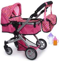 fash n kolor Foldable Pram for Baby Doll with Polka Dots Design with Swiveling Wheel Adjustable Handle with 2 Free Magic Toy Bottles