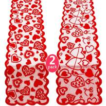 2 Pieces Valentines Day Table Runner Lace Hearts Table Runner Decorations for Valentine's Day Home Wedding Bridal Shower Decoration Supplies