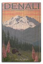 Lantern Press Denali National Park, Alaska - Bear and Cubs with Flowers (10x15 Wood Wall Sign, Wall Decor Ready to Hang)