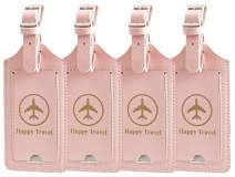 Gostwo 4 Pack Luggage Tags Leather Case Luggage Bag Tags Travel Tags (Pink)