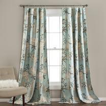 "Lush Decor Botanical Garden Curtains Floral Bird Print Room Darkening Window Panel Drapes Set for Living, Dining, Bedroom (Pair), 84"" x 52"", Blue, 2 Count"