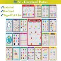 22 Set - We Ship Flat - Laminated Front Only - Educational Posters for Preschoolers, Toddlers, Kids, Kindergarten Classrooms (Laminated - English- One-Sided - 13 X 19 Inches - V2)