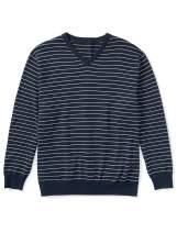 Amazon Essentials Men's V-Neck Stripe Sweater fit by DXL