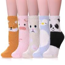 LANLEO 5/6 Pairs Womens Super Soft Fuzzy Plush Warm Winter Home Sleeping Slipper Socks