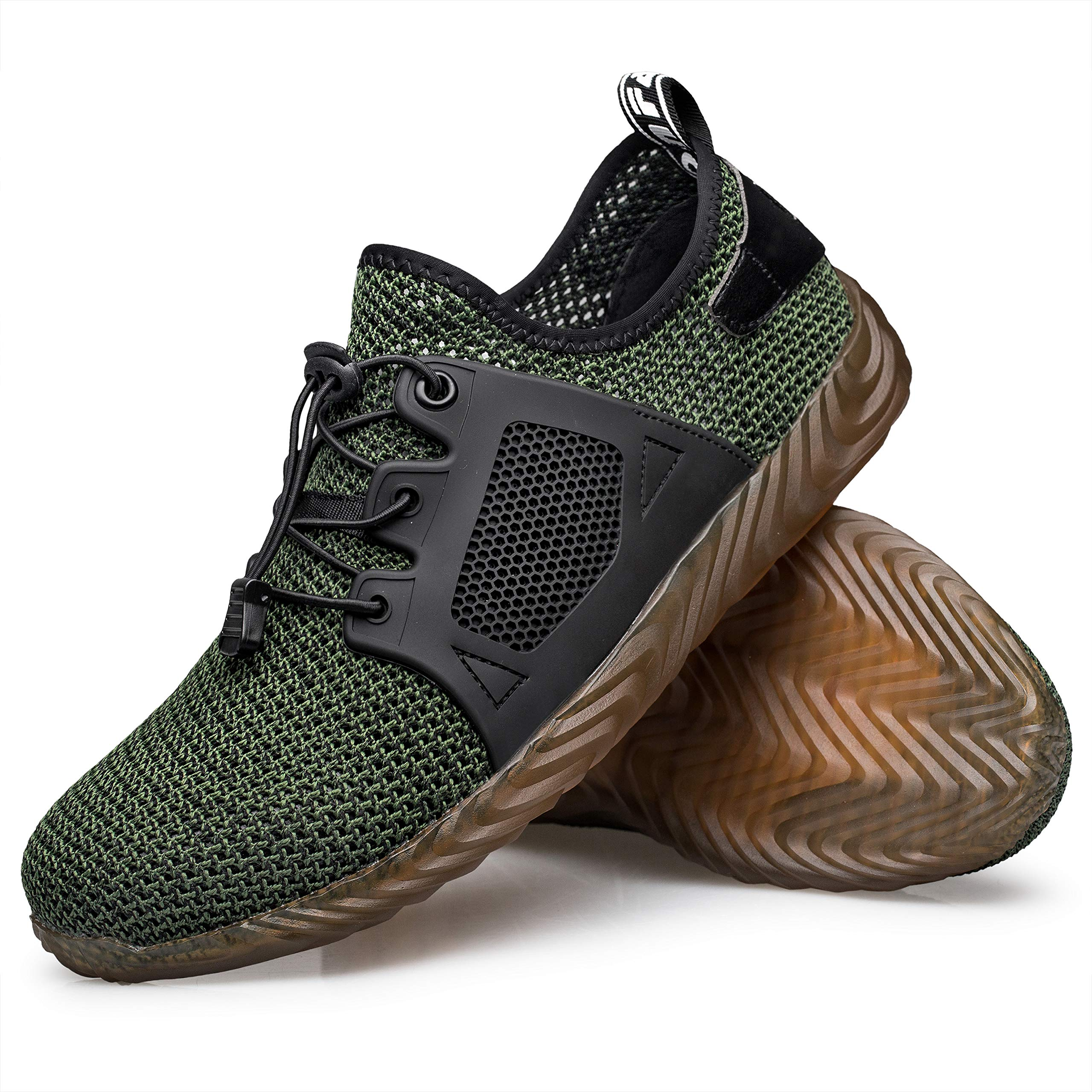 Winemuwang Steel Toe Shoes Mens Safety Work Industrial Construction Breathable Sneakers Lightweight Non Slip Outdoor Shoes, Green-breathable