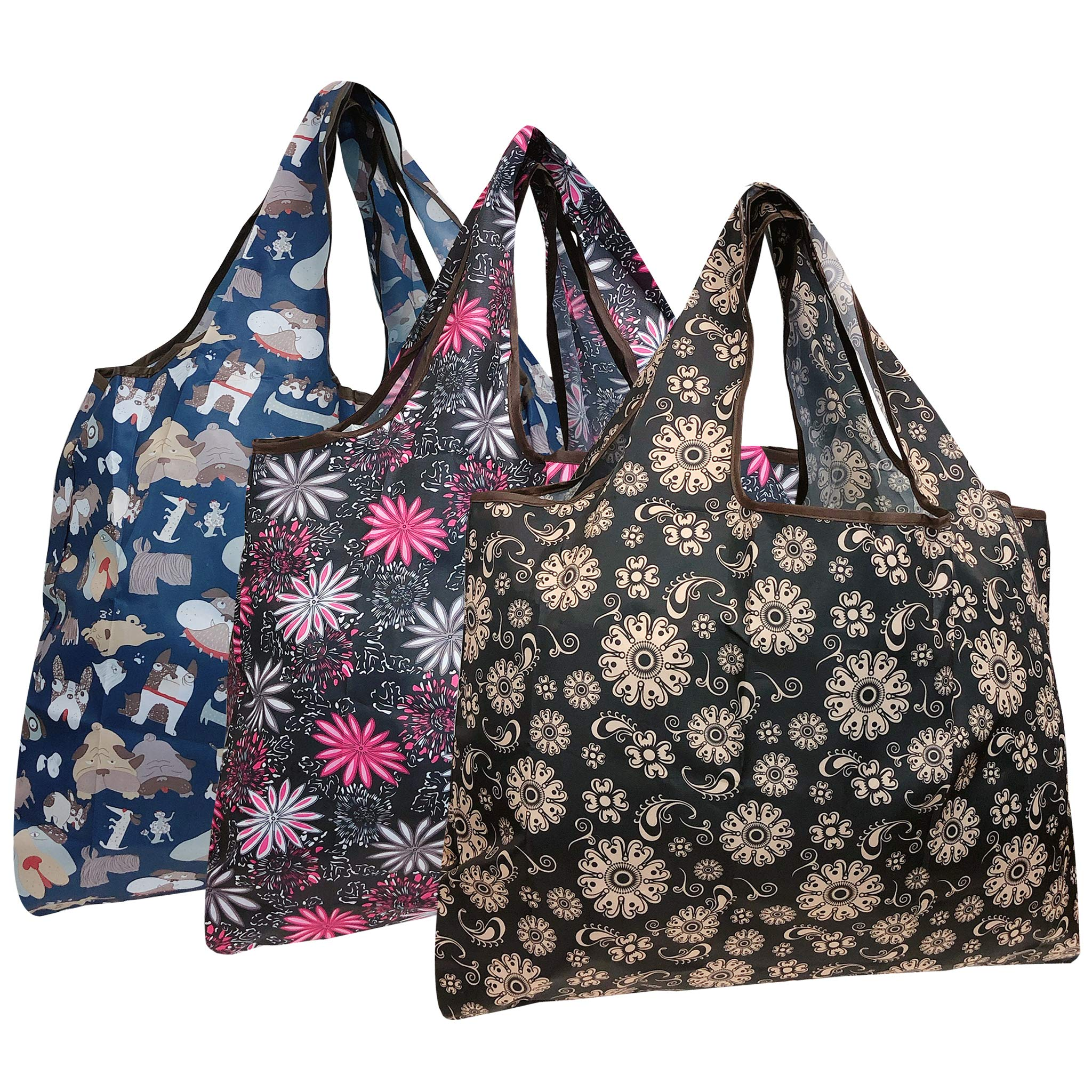 Wrapables Eco-Friendly Large Nylon Reusable Shopping Bags (Set of 3), Dogs & Flowers