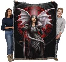 Pure Country Weavers Dragon Queen Warrior Woven Throw Blanket Design by Anne Stokes Large Soft 100% Cotton Throw Made in USA 72x54