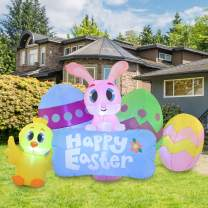 Joiedomi Easter Inflatable Outdoor Decoration 6 ft Long Easter Sign with Build-in LEDs Blow Up Inflatables for Easter Holiday Party Indoor, Outdoor, Yard, Garden, Lawn Fall Decor