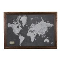 Personalized Stormy Dreams World Travel Map with Solid Wood Brown Frame