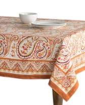 Maison d' Hermine Palatial Paisley 100% Cotton Tablecloth for Kitchen Dinning Tabletop Decoration Parties Weddings Thanksgiving Christmas (Square, 60 Inch by 60 Inch)