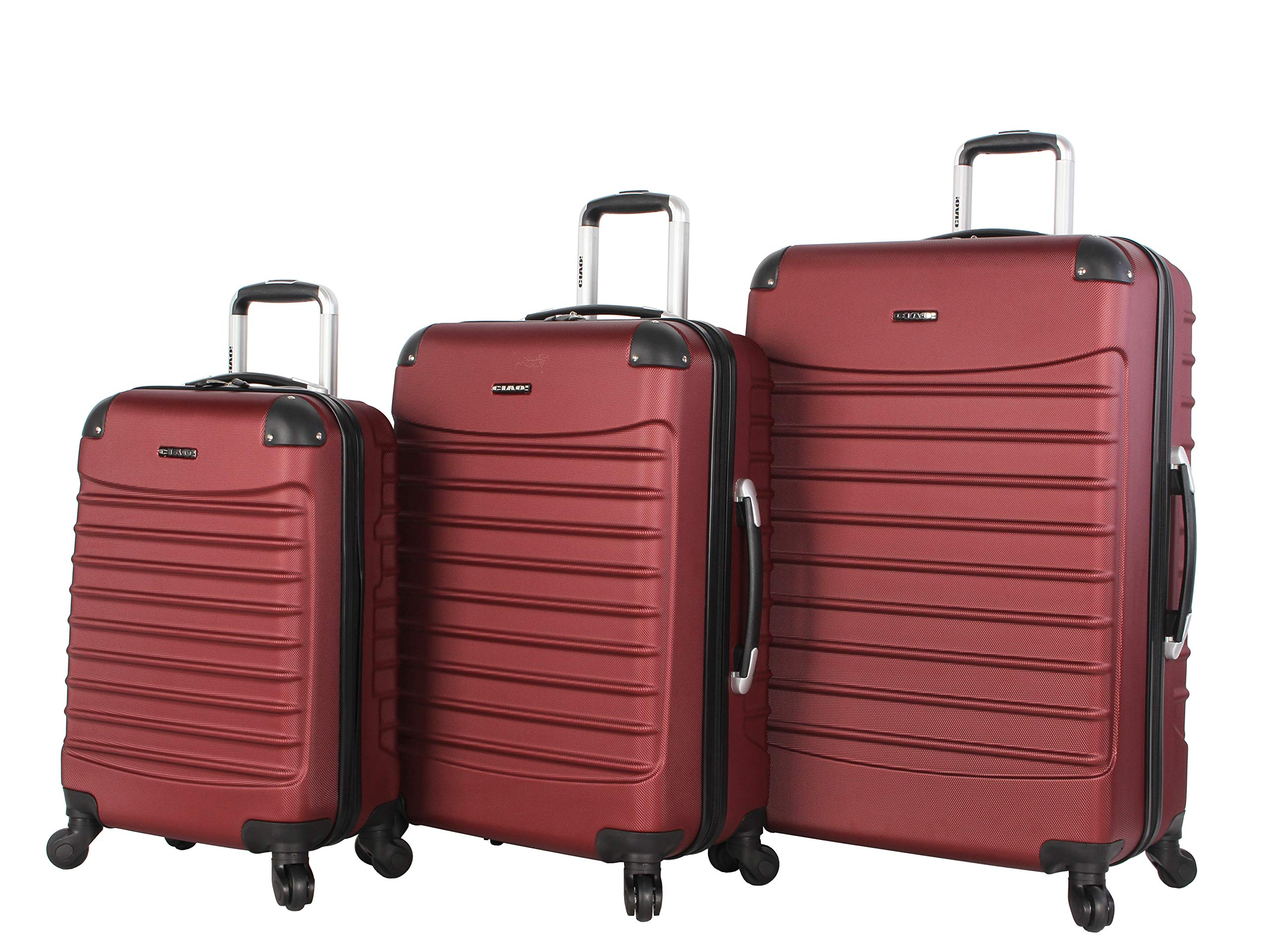Ciao Voyager Luggage Collection - 3 Piece Hardside Lightweight Spinner Suitcase Set - Travel Set includes 20-Inch Carry On, 24 inch and 28-Inch Checked Suitcases (Voyager Burgundy)