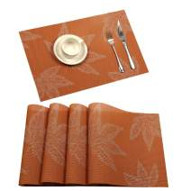 U'Artlines Placemat, Fall Harvest Season Vinyl Non-Slip Insulation Placemat Washable Table Mats Set (4pcs placemats, Maple Leaf Orange)