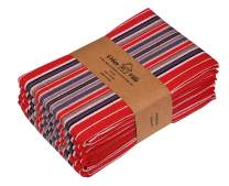 Urban Villa Kitchen Towels, Premium Quality, 100% Cotton Dish Towels,Mitered Corners,Ultra Soft (Size: 20X30 Inch), Cherry Red Waffle Stripes, Highly Absorbent Bar Towels & Tea Towels - (Set of 6)
