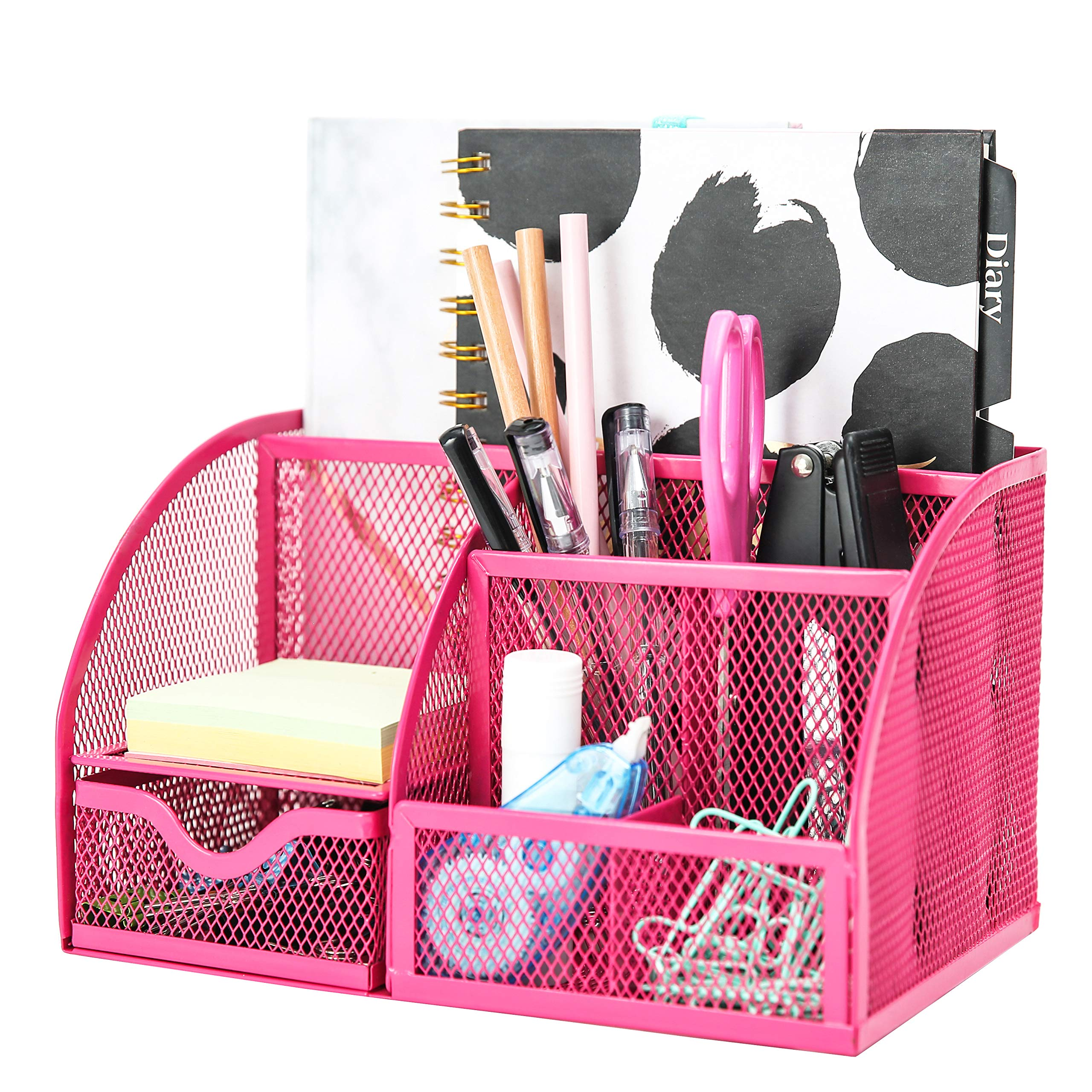 Exerz Mesh Desk Organizer Office with 7 Compartments + Drawer/Desk Tidy Candy/Pen Holder/Multifunctional Organizer EX348 Pink