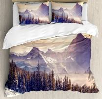 Ambesonne Nature Duvet Cover Set, Evening Winter Landscape with Dramatic Surreal Overcast Sky and Majestic Mountains, Decorative 3 Piece Bedding Set with 2 Pillow Shams, King Size, Blue Grey