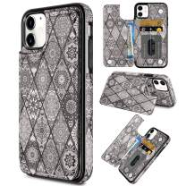 Coolden for iPhone 11 Case Wallet Slim Credit Card Holder Painted Ethnic Totem Cover Kickstand Protective Durable PU Leather Flip Folio Case for 6.1 inch iPhone 11, Gray