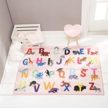 "Home Dynamix Eric Carle Elementary Alphabet Educational Kids Area Rug 4'11""x6'6"" Pink/Blue"