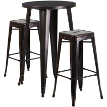 Flash Furniture 24'' Round Black-Antique Gold Metal Indoor-Outdoor Bar Table Set with 2 Square Seat Backless Stools