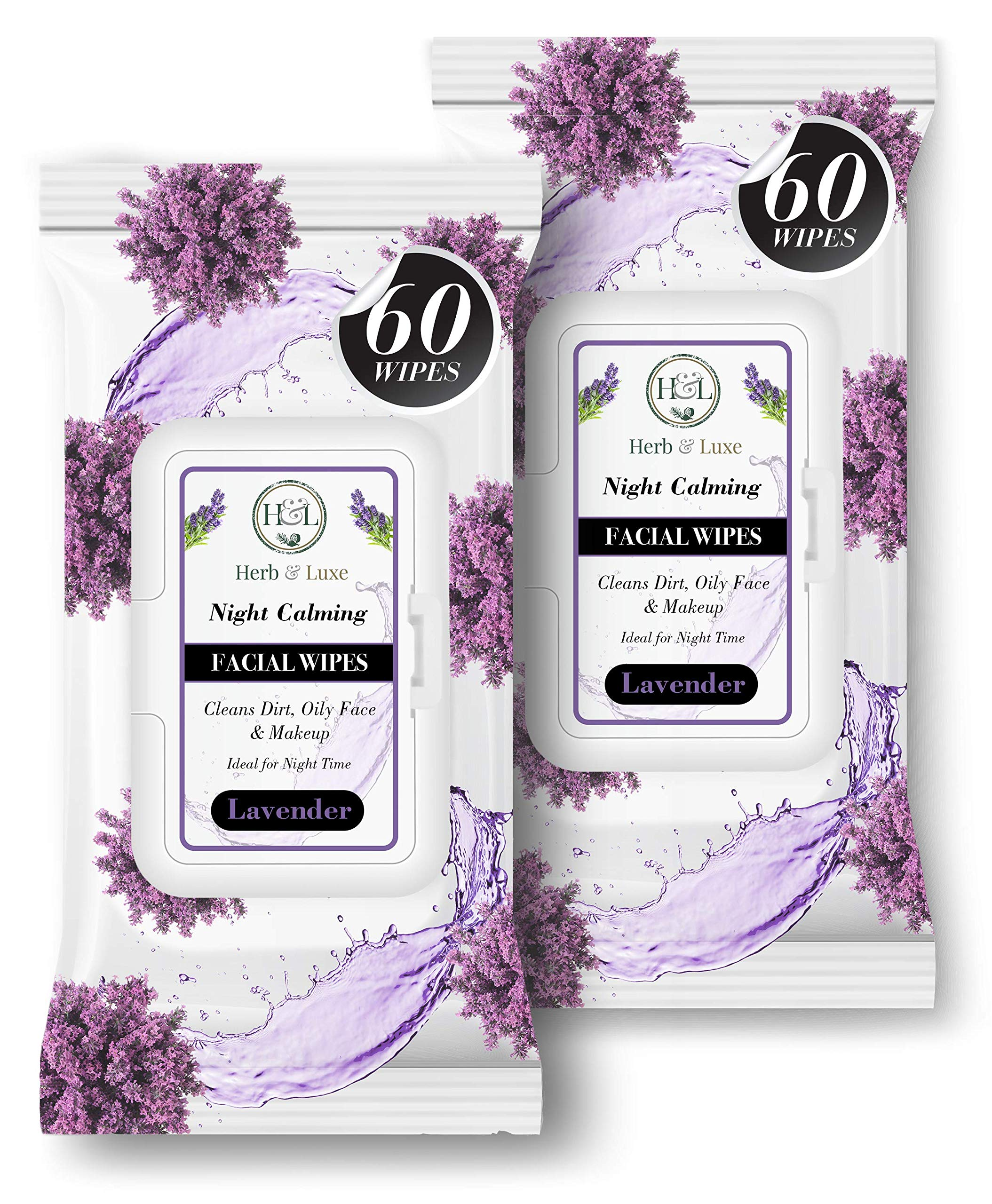 Herb & Luxe Face Wipes, Flip-Top Makeup Remover Facial Cleansing Wipes with Aloe Vera for Sensitive, Oily, dry Skin, Face/Hands/Body, Women/Men, 60 Count, Lavender (Pack of 2 = 120 Wipes)