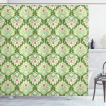 """Ambesonne Shabby Flora Shower Curtain, Victorian Style Baroque Florals Rococo Inspired Flourish Design Art, Cloth Fabric Bathroom Decor Set with Hooks, 75"""" Long, Green Mint"""