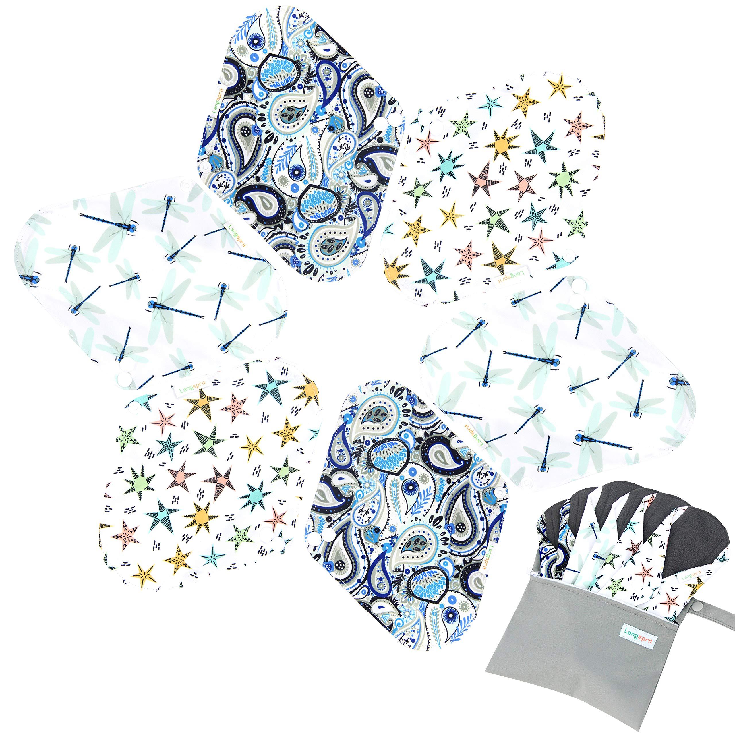 7pcs Set 1 pc Bonus Free Mini Wet Bag +6pcs Absorbent Reusable Sanitary Pads/Washable Bamboo Cloth Menstrual Pads (S,Elegant)