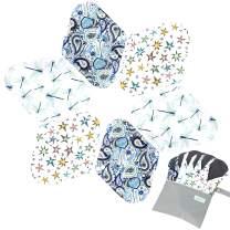 7pcs Set 1 pc Bonus Free Mini Wet Bag +6pcs Absorbent Reusable Sanitary Pads/Washable Bamboo Cloth Menstrual Pads (M,Elegant)