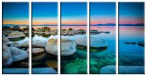 5 Piece Large Framed Split Sunset Ocean Sea Seascape Panel Canvas Painting Picture Pic Artwork Print Wall Art Decor Posters for Home Decor